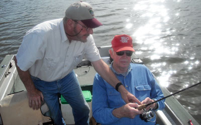 <p>Jim giving instruction, his specialty. This time it's on drag setting and rod position</p>