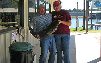 <p>Mary caught this 33 pound op catfish on a spoon while slow trolling on Lake Palestine, Tx</p>
